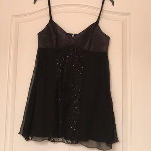 Bianca Nero black spaghetti straps silk top